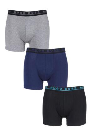 Mens 3 Pack BOSS Plain Cotton Stretch Longer Leg Boxer Briefs