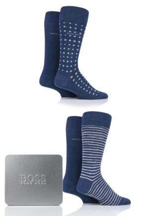 Mens 4 Pair BOSS Combed Cotton Gift Boxed Patterned Socks