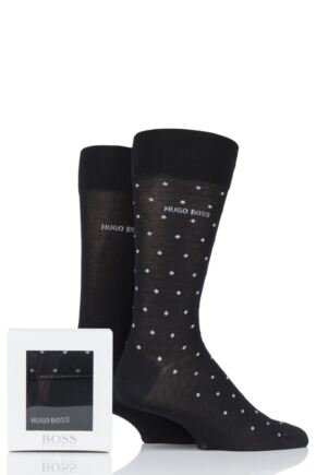 Mens 2 Pair BOSS Mercerized Cotton Gift Boxed Socks