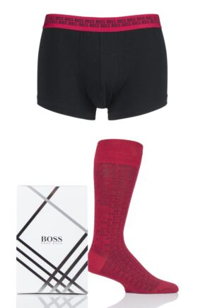 Mens 1 Pack BOSS Plain Cotton Boxer and Socks Set in Gift Box