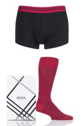 Mens 1 Pack BOSS Plain Cotton Boxer and Socks Set in Gift Box