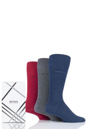 Mens 3 Pair BOSS Combed Cotton Gift Boxed Socks