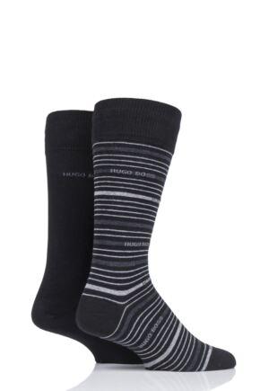 Mens 2 Pair BOSS Stripe and Plain Combed Cotton Socks