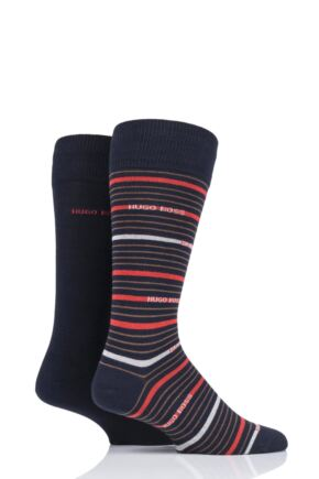 Mens 2 Pair BOSS Stripe and Plain Combed Cotton Socks