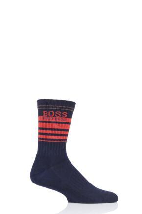 Mens 1 Pair BOSS Ribbed Combed Cotton Sports Socks Navy 5.5-8 Mens