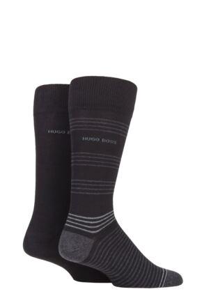 Mens 2 Pair BOSS Combed Cotton Fine Stripe and Plain Socks
