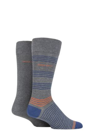 Mens 2 Pair BOSS Combed Cotton Fine Stripe and Plain Socks