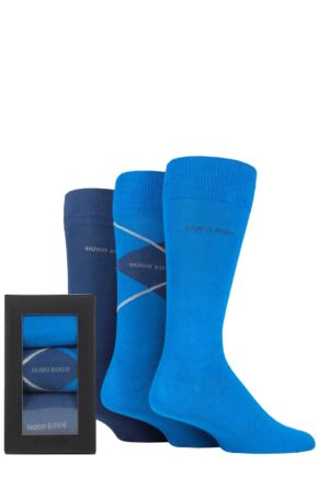 Mens 3 Pair BOSS Gift Boxed Plain and Argyle Cotton Socks