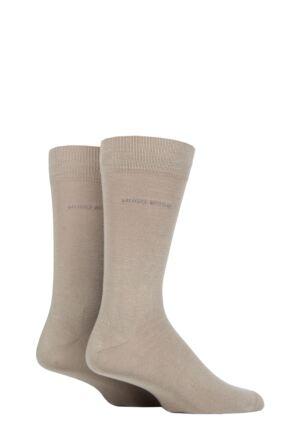 Mens 2 Pair BOSS Plain Cotton Socks