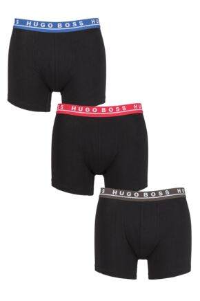 Mens 3 Pack BOSS Cotton Contrast Waistband Longer Leg Boxer Briefs