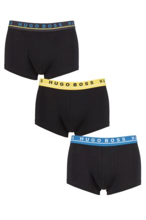 Mens 3 Pack BOSS Cotton Contrast Waistband Boxer Trunks