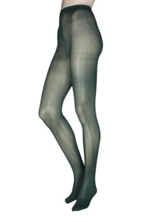 9784babd2 Ladies 2 Pair Pretty Polly 40 Denier Opaque Tights Bottle Green Medium Large
