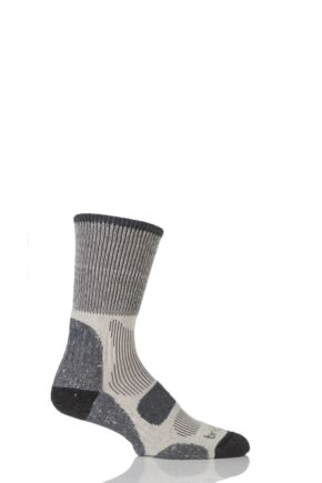 Mens 1 Pair Bridgedale Active Light Hiker Cotton and Coolmax Sock For Summer Hiking Charcoal