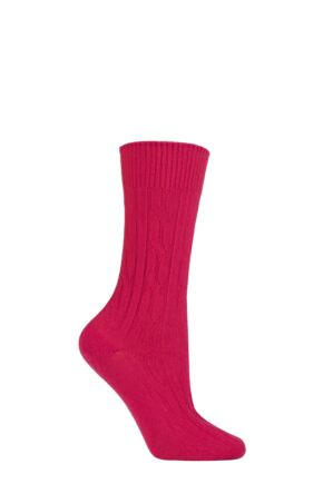 Ladies 1 Pair SOCKSHOP of London 100% Cashmere Cable Knit Bed Socks