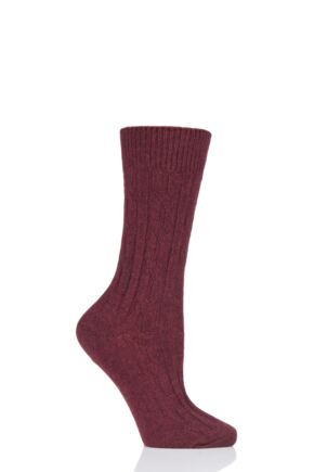 Ladies 1 Pair SOCKSHOP of London 100% Cashmere Cable Knit Bed Socks Burgundy 4-8