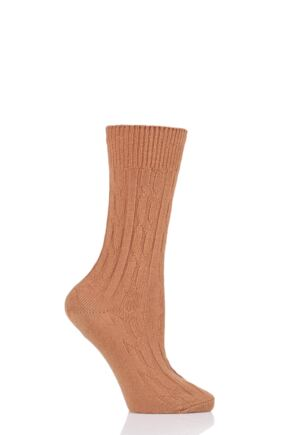 Ladies 1 Pair SockShop of London 100% Cashmere Cable Knit Bed Socks Caramel 4-8