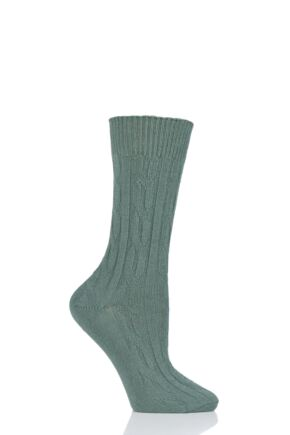 Ladies 1 Pair SOCKSHOP of London 100% Cashmere Cable Knit Bed Socks Dill 4-8