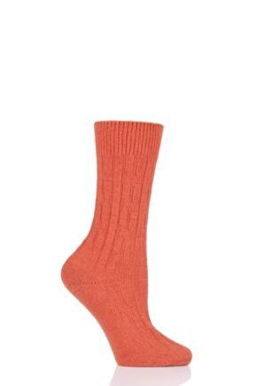 Ladies 1 Pair SockShop of London 100% Cashmere Cable Knit Bed Socks Dusky Orange 4-8