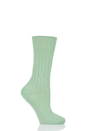 Ladies 1 Pair SOCKSHOP of London 100% Cashmere Cable Knit Bed Socks Mantis 4-8