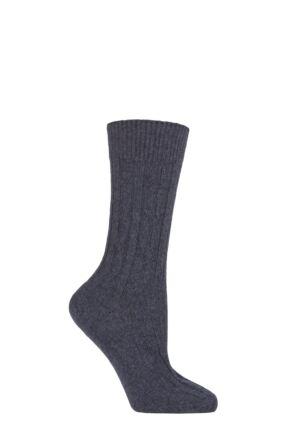 Ladies 1 Pair SOCKSHOP of London 100% Cashmere Cable Knit Bed Socks Midnight 4-8 Ladies