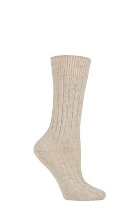 Ladies 1 Pair SOCKSHOP of London 100% Cashmere Cable Knit Bed Socks Platinum 4-8 Ladies