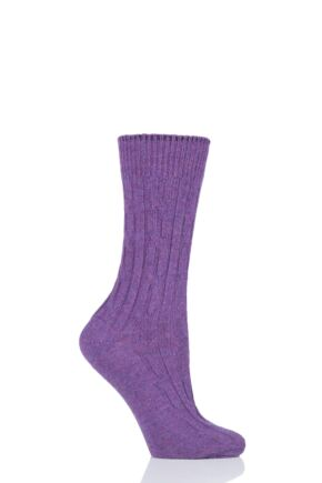 Ladies 1 Pair SockShop of London 100% Cashmere Cable Knit Bed Socks Purple Melange 4-8
