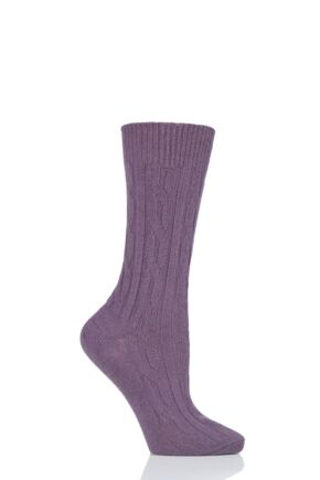 Ladies 1 Pair SOCKSHOP of London 100% Cashmere Cable Knit Bed Socks Smokey 4-8