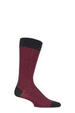 Mens 1 Pair Pantherella Business Modern Ludgate Optical Triangled Cotton Socks Black 10-12