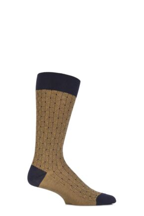 Mens 1 Pair Pantherella Business Modern Ludgate Optical Triangled Cotton Socks Navy 10-12