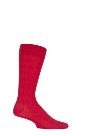 Mens 1 Pair Pantherella Business Modern Holborn Giant Houndstooth Cotton Socks Scarlet 7.5-9.5