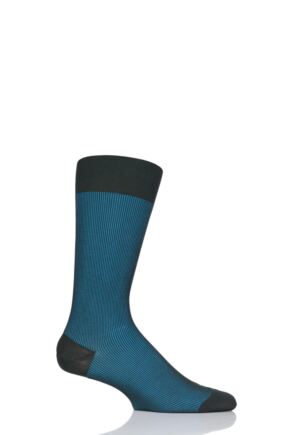 Mens 1 Pair Pantherella Santos Shadow Rib Cotton Lisle Socks Dark Green 7.5-9.5 Mens