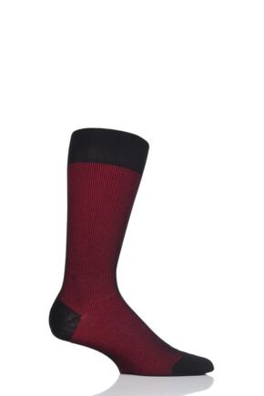 Mens 1 Pair Pantherella Santos Shadow Rib Cotton Lisle Socks