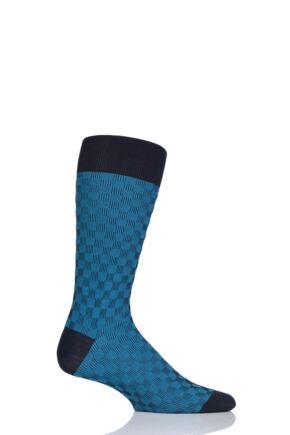 Mens 1 Pair Pantherella Patino Patchwork Shadow Cotton Lisle Socks