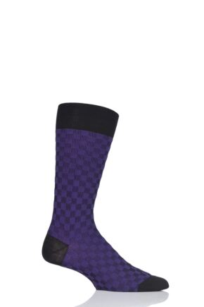 Mens 1 Pair Pantherella Patino Patchwork Shadow Cotton Lisle Socks