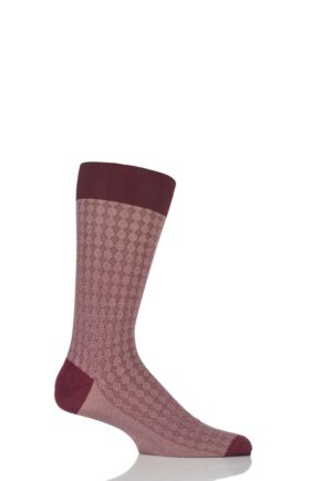 Mens 1 Pair Pantherella Vintage Collection Tenison Pique Diamond Cotton Lisle Socks Claret 9-11
