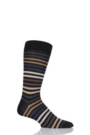 Mens 1 Pair Pantherella Kilburn Striped Cotton Lisle Socks