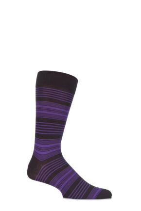 Mens 1 Pair Pantherella Business Modern Sloane Graded Striped Cotton Socks Chocolate 10-12