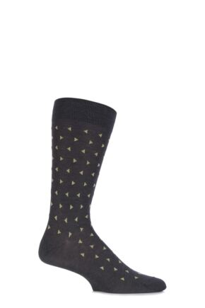 Mens 1 Pair Pantherella Business Modern Parkham Allover Triangled Cotton Socks 25% OFF