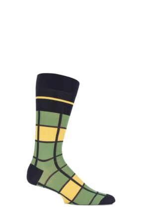Mens 1 Pair Pantherella Caulfield Colour Block Check Cotton Socks Navy 7.5-9.5