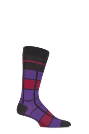 Mens 1 Pair Pantherella Caulfield Colour Block Check Cotton Socks Charcoal 10-12