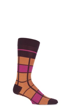 Mens 1 Pair Pantherella Caulfield Colour Block Check Cotton Socks Burgundy 10-12
