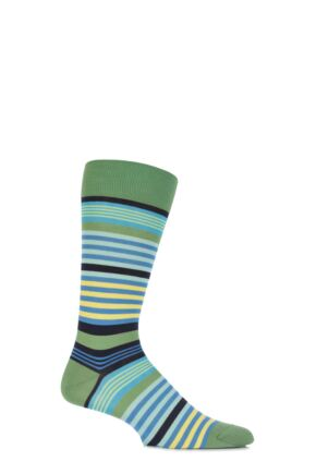 Mens 1 Pair Pantherella Riley Multi Striped Cotton Socks Clover 10-12