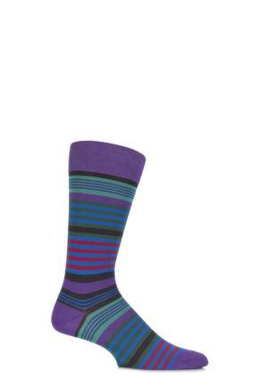 Mens 1 Pair Pantherella Riley Multi Striped Cotton Socks Crocus 10-12