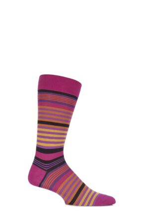 Mens 1 Pair Pantherella Riley Multi Striped Cotton Socks Fuchsia 10-12