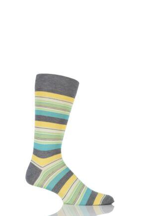 Mens 1 Pair Pantherella Soho Mixed Striped Cotton Lisle Socks Mid Grey Mix 7.5-9.5