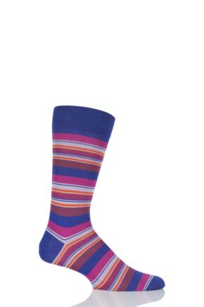 Mens 1 Pair Pantherella Soho Mixed Striped Cotton Lisle Socks Purple 9-11