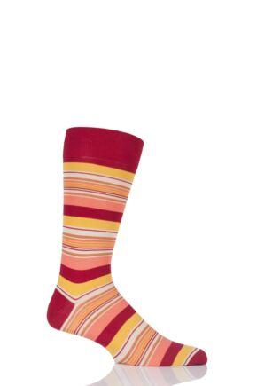 Mens 1 Pair Pantherella Soho Mixed Striped Cotton Lisle Socks Redcurrant 7.5-9.5