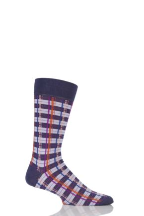 Mens 1 Pair Pantherella Kentish Bright Check Cotton Lisle Socks Blackberry 7.5-9.5