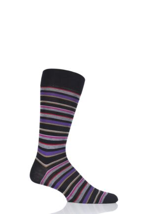 Mens 1 Pair Pantherella Marmara Multi Stripe Cotton Lisle Socks