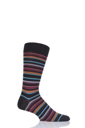Mens 1 Pair Pantherella Marmara Multi Stripe Cotton Lisle Socks